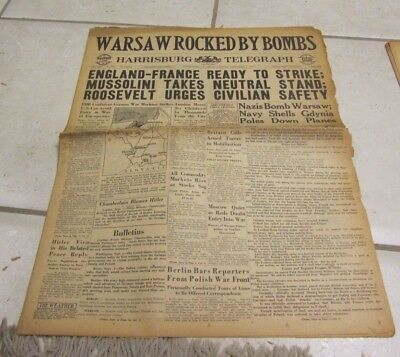 September 1 1939 Harrisburg Telegraph Newspaper Warsaw Rocked By Bombs WWII