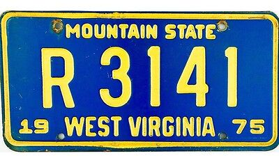 1975 West Virginia License Plate #R3141 NICE
