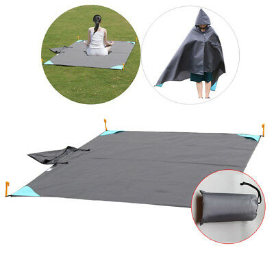Hiking Travel Camping Sleeping Bag Liner Blanket Quilt Mat Rain Cape w/ Cap