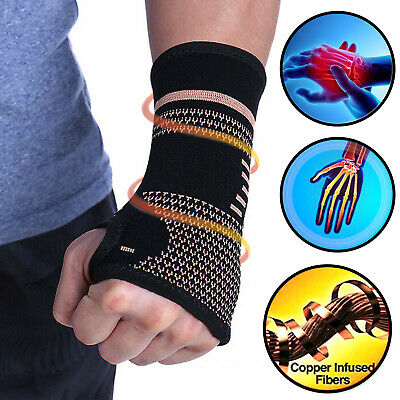 Copper Elastic Wrist Support Hand Palm Brace Compression Glove Arthritis Pain