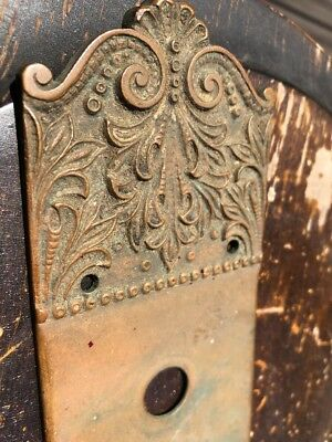 Antique Vintage Unique Ornate Victorian Brass Back Plate With 2 Key Holes