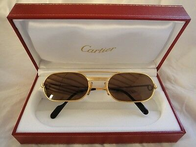 47db7c0142 Vintage Cartier Vendome Must Gold 55Mm Sunglasses Elton John France Hard  Plated