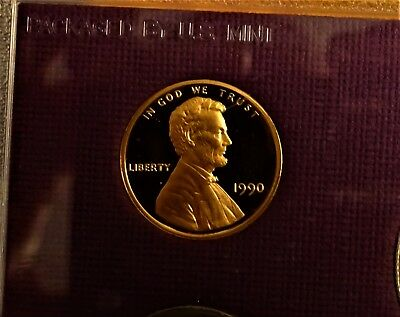 1990 Rare Complete No S Lincoln Memorial Penny Original Proof Set Deep Cameo Gem