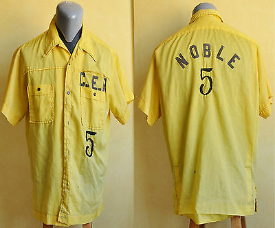 VTG 60's 70's HILTON Embroidered Yellow Bowling Shirt L Rockabilly 16 16 1/2
