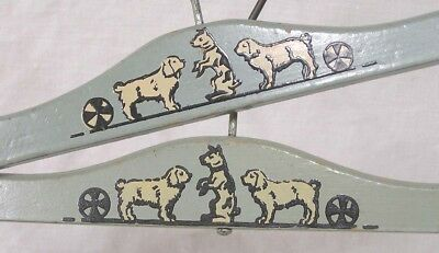 Vintage LOT Two Childrens Enameled Wood Clothes Hangers Dogs w Balls