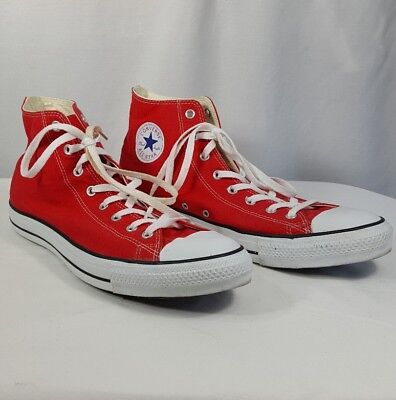Converse Chuck Taylor All Star Mens Red High Top Canvas Sneakers Shoes Size 14