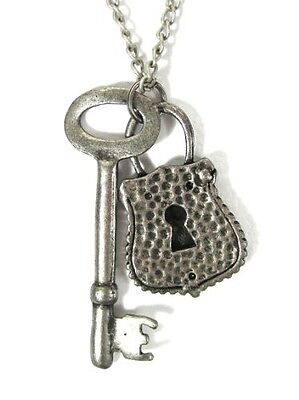 Skeleton Key and Lock Necklace Antique Victorian Steampunk NC50 Vintage Silver T