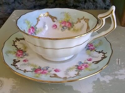 Antique Adorable Baby Blue Pink Roses Gold Embossed Cauldon England Wide Bowl Te