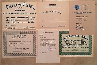 The Martin Company, Plus Certificates / Career Employee Mercury To Apollo Era