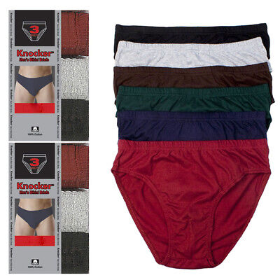 6 Pack Knocker Mens Bikinis Briefs Underwear 100% Cotton Solid Size Large 36-38