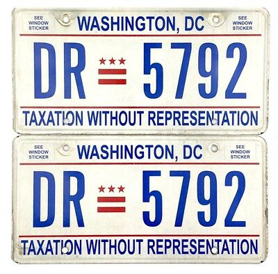 Washington DC District Of Columbia License Plate PAIR #DR-5792 TAXATION