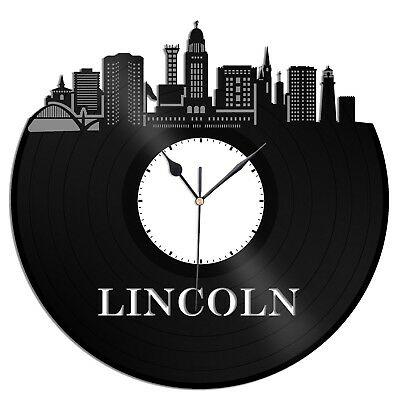 Lincoln Nebraska Vinyl Wall Clock City Skyline Vintage Gift Office Home Decor