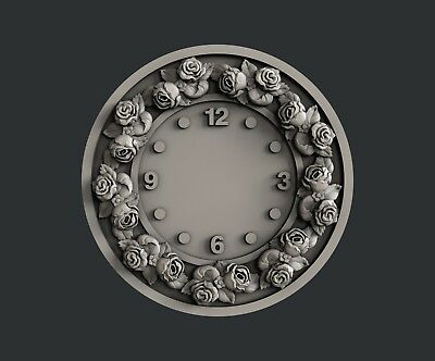 3d STL models for CNC, Artcam, Aspire, relief Clock Roses