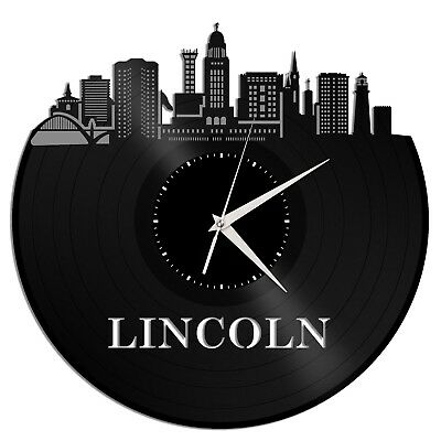 Lincoln Nebraska Vinyl Wall Clock City Skyline Vintage Office Home Decoration