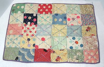 """Vintage Doll Teddy Bear Small Quilt 21 1/2"""" x 15 3/4"""" Inches Great Fabrics T8"""
