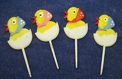 Vintage Easter Hard Plastic Cupcake Pick Cup Cake Ducks in Shell w Hat Spots T38