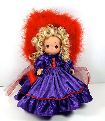 Precious Moments Doll Red Hat Society Vinyl Tall Purple Dress Floppy Hat 12 Inch