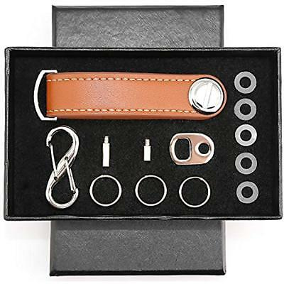 Compact Key Tags & Chains Holder Leather Organizer Secure Locking Mechanism - Up