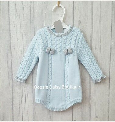 Boys Gorgeous Blue/Grey Spanish Knitted Pom Pom Romper ☆