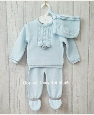 Boys Gorgeous Blue Spanish Knitted Pom Pom Suit with Matching Bonnet upto 18mth