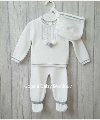 Boys Gorgeous White Spanish Knitted Pom Pom Suit & Matching Bonnet upto 18mth