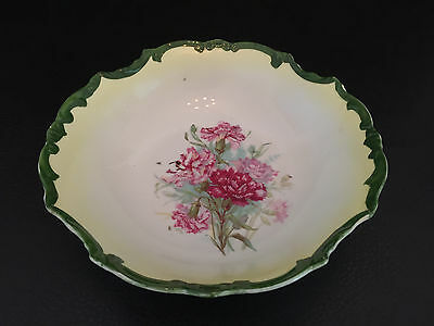 porcelain serving bowl 1915 - 1930 - Green Rim with Pink flowers inside