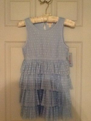 Cat & Jack Girls Light Blue Sleeveless Layered Party Dress Size 7/8 NEW
