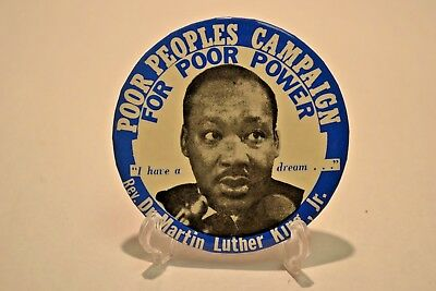 Poor Peoples Campaign Martin Luther King Jr Political Pin Button 1960s I Dream