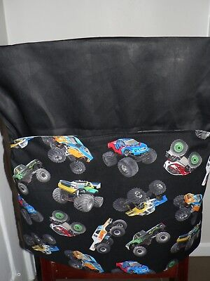 Kids Handmade Chair Bags First Name Embroidered Free (Monster Trucks) Print