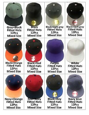 Blank Fitted Baseball Cap/Hats Lot of 12pcs +35Different Colors Closeout item