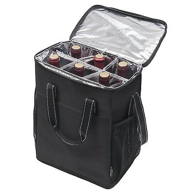 Wine Bag Case Carrying Insulated Cooler 6 Bottle Travel Picnic Camp Gift New