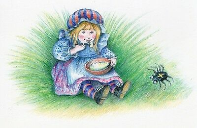 LITTLE MISS MUFFET LARGE 18cm x 12cm POSTCARD by EARLES PUBLISHING
