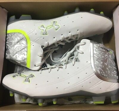 Mens Under Armour BANSHEE Mid MC Lacrosse Cleats 14 White Silver 1250088-102
