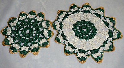 Vintage Hand Made Hand Crochet Doily Table Scarf Green Tan Gold Set of Two (2)