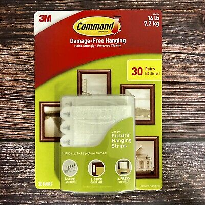 3M Command Damage-Free Large Picture Hanging Strips Package - 30Pairs / 60Strips