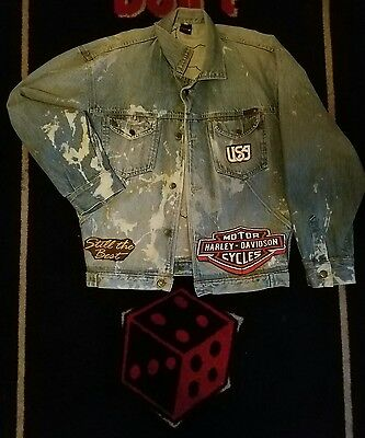 Denim Jacket with motorcycle patches