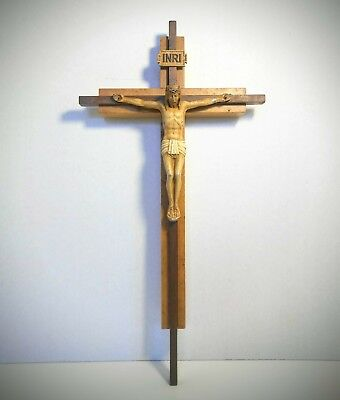 Mid Century Vintage Crucifix in Wood and Cast Painted Metal