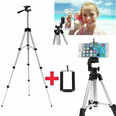 Professional Camera Tripod Stand Mount + Phone Holder Fr Phone iPhone Samsung QW