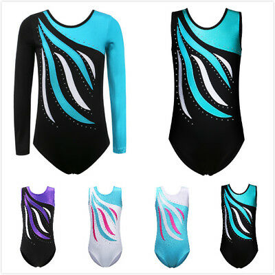 BHL Justaucorp Gymnastique Fille Danse Ballet Body Leotards Rayures Diamant c0bc7f18a31