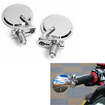 """Chrome Motorcycle Round 7/8"""" Handle Bar End Rearview Side Mirrors For Cafe Racer"""