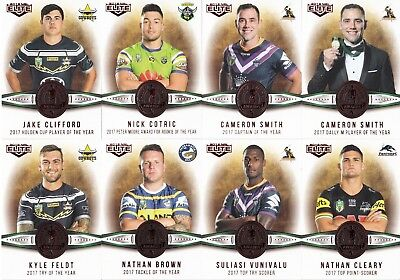2018 Nrl Elite Dally M Awards Trading Cards - Smith, Slater, Gutherson, Widdop,