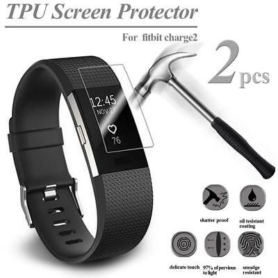 2PCS HD TPU Tempered Glass Film Screen Protector For Fitbit Charge2 Watch