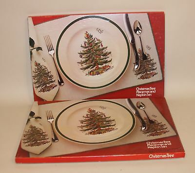 8 Leacock Madeira Spode Christmas Tree Linen Placemats and Napkins in Boxes