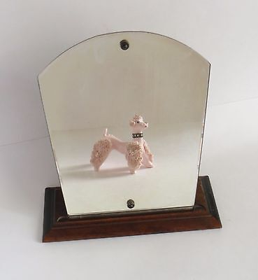 Vintage Art Deco Shaving Make-up Vanity Mirror with Wood Base