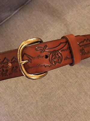 NEW Shriner Masonic Brown Leather Belt VERY UNIQUE!