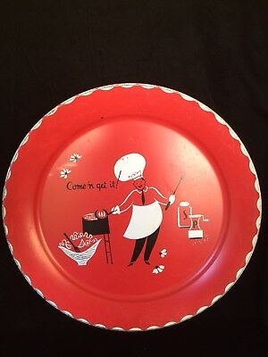 """Vintage 60's Tin Metal Litho BBQ 19""""w Grilling Serving Tray NICE!"""