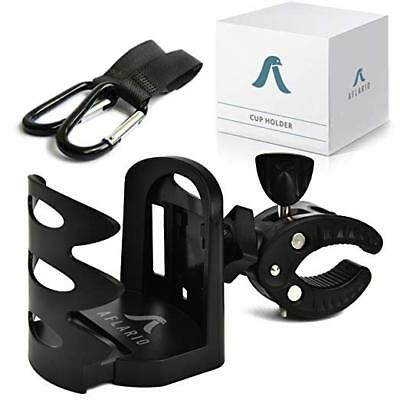 Universal Stroller Cup Holder + 2 Hooks | Attachable Drink Fits All...