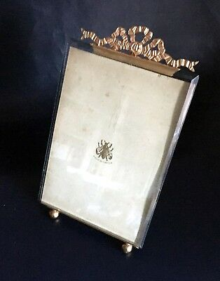 Rare Large French Antique Nap III Brass & Bevelled Glass Photo/Picture Frame