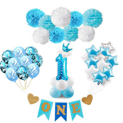 Baby Shower Blue Theme Party Boy Birthday Balloon Set Banner Decortion Supplies