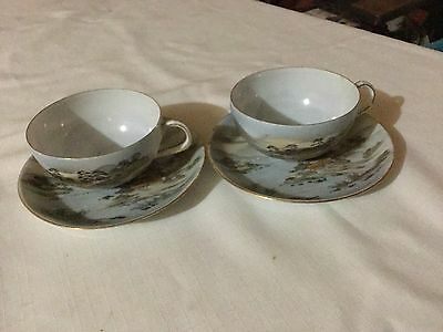 2 Made In Japan Hand Decorated Cup And Saucer Japan  Mountain Village Scene